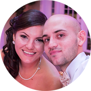 Newly married couple Matthew & Jessica Gomez during wedding dinner at Lange Farms in Dade City, FL