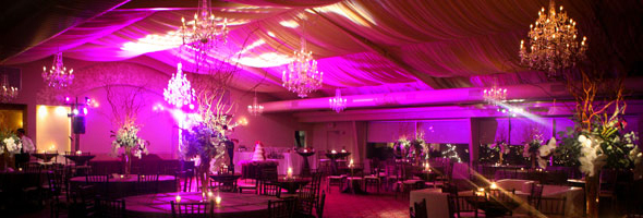 event venue washed with rich color during special events